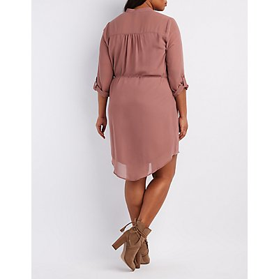 Plus Size Zip-Pocket Shirt Dress