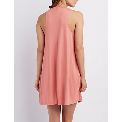 Crew Neck Trapeze Shift Dress