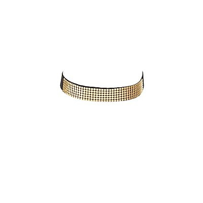 Metal-Trim Velvet Choker Necklace