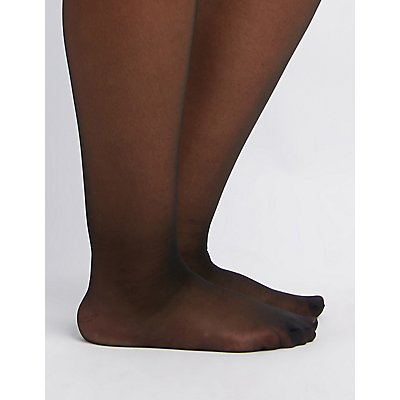 Plus Size Sheer Control Top Tights