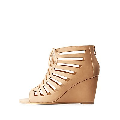 Caged Lace-Up Wedge Sandals