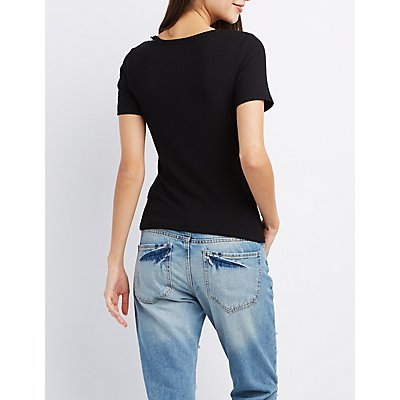 Ribbed Cut-Out Neck Skimmer Tee