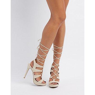 Strappy Lace-Up Platform Dress Sandals