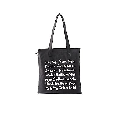 Graphic Faux Leather Tote Bag
