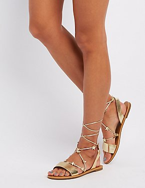 Starry Faux Leather Sandals