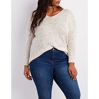 Plus Size Speckled V-Neck Sweater