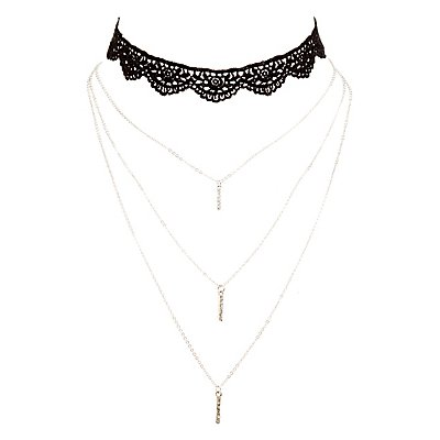 Lace Choker & Layering Necklace - 2 Pack