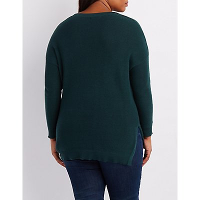 Plus Size Oversized Crew Neck Sweater