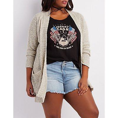 Plus Size Nubby Longline Cardigan
