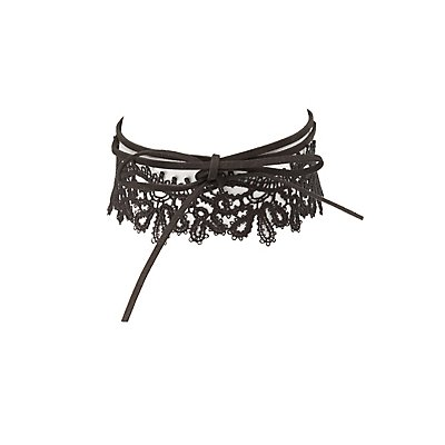 Crochet & Faux Suede Choker Necklaces - 2 Pack