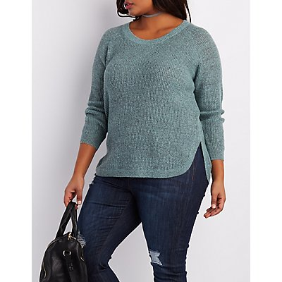 Plus Size Shaker Stitch Zip-Back Sweater
