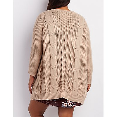 Plus Size Cable Knit Longline Cardigan