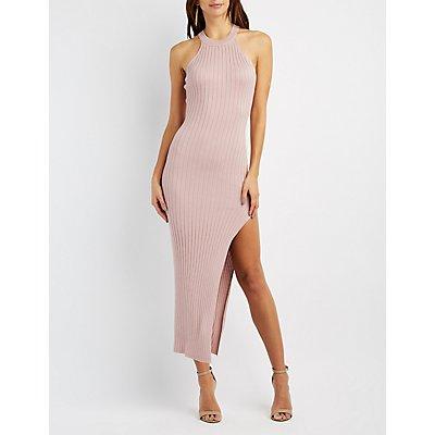 Ribbed Mock Neck Maxi Dress