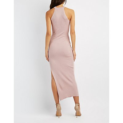 Ribbed Mock Neck Maxi Dress