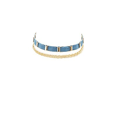 Chainlink & Chambray Choker Necklaces - 2 Pack