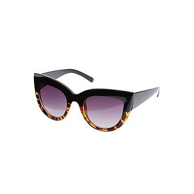 Two-Tone Cat Eye Sunglasses