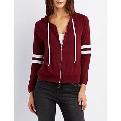 Varsity Stripe Zip-Up Hoodie