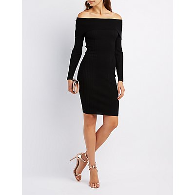 Ribbed Off-The-Shoulder Sweater Dress