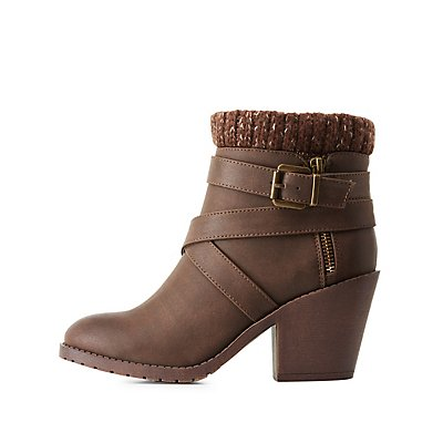 Knit-Trim Ankle Booties