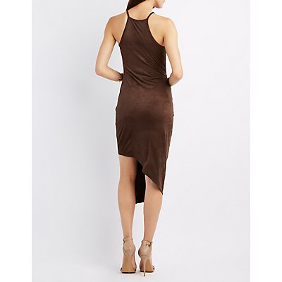 Faux Suede Asymmetrical Bodycon Dress