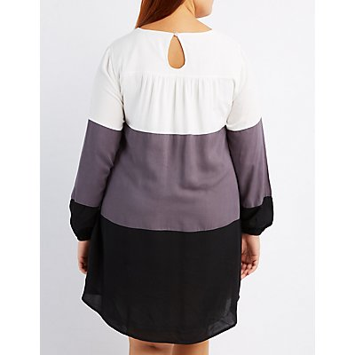Plus Size Colorblock Shift Dress