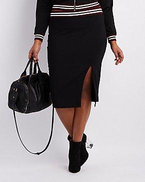 Plus Size Varsity Stripe Pencil Skirt