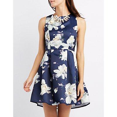 Floral Pleated Skater Dress