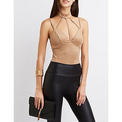 Faux Suede Caged Mock Neck Bodysuit