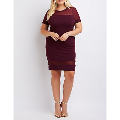 Plus Size Mesh-Trim Bodycon Dress