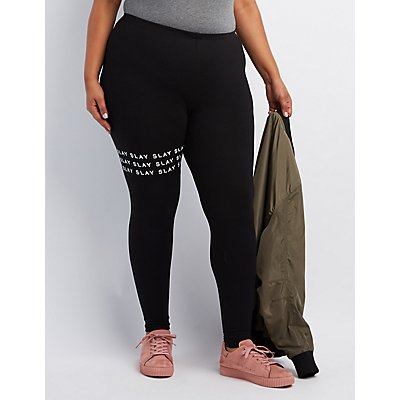 "Plus Size ""Slay"" Printed Leggings"