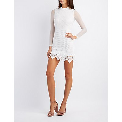 Lace & Crochet Mock Neck Bodycon Dress