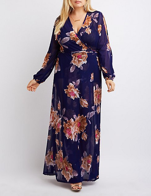 Plus Size Sheer Floral Maxi Dress | Charlotte Russe