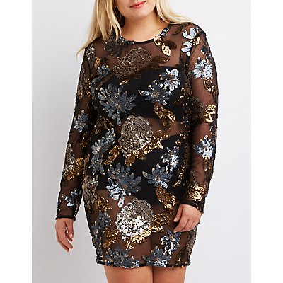 Plus Size Sequin Bodycon Dress