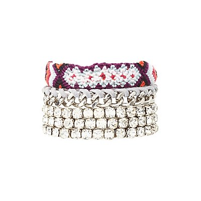 Woven, Rhinestone & Chainlink Layering Bracelets - 5 Pack