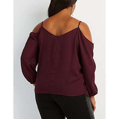 Plus Size Caged Cold Shoulder Top