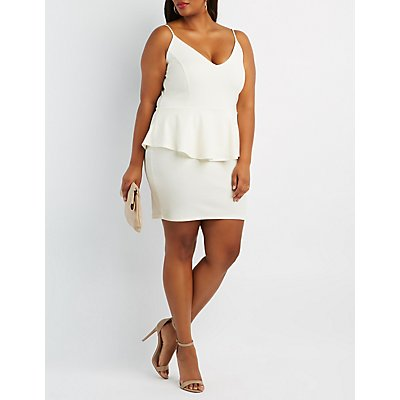 Plus Size Shimmer Textured Peplum Dress