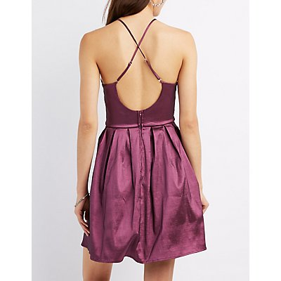 Bib Neck Open Back Skater Dress