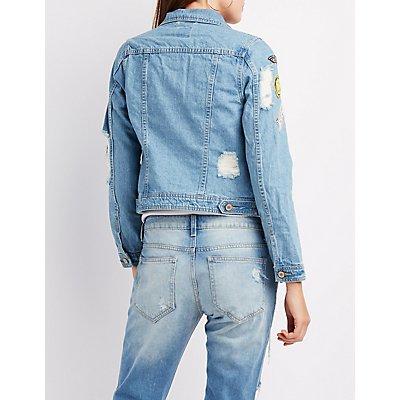 Distressed Patched Denim Jacket