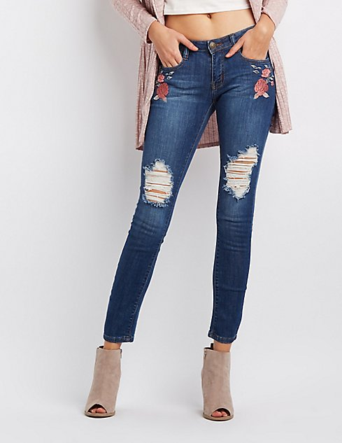 Machine jeans embroidered destroyed skinny