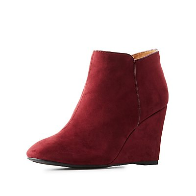Qupid Square Toe Wedge Booties