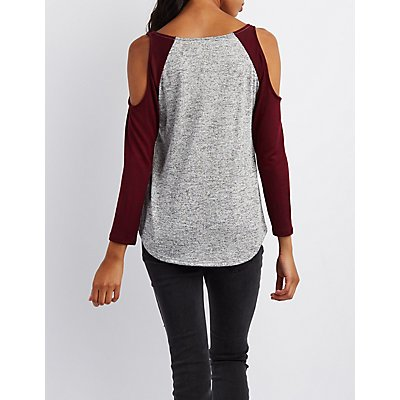 Hacci Cold Shoulder Raglan Tee