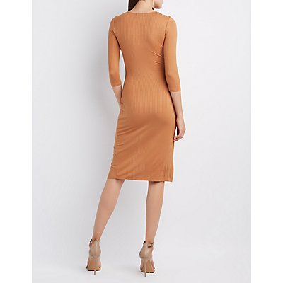 Ribbed Envelope Hem Bodycon Dress