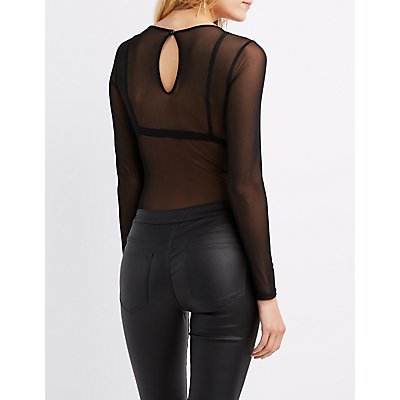 Sheer Mesh Embroidered Bodysuit