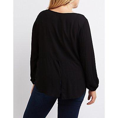 Plus Size Lace-Trim Split Back Blouse