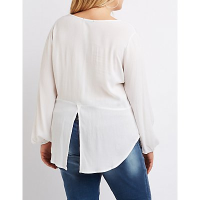 Plus Size Lace-Trim Split Back Blouse