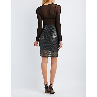 Metallic Mesh-Trim Bodycon Dress