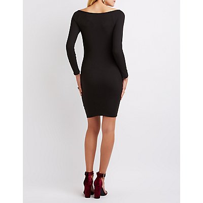 Faux Suede Off-The-Shoulder Dress