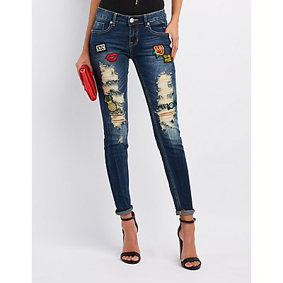 Destroyed Patches Skinny Jeans