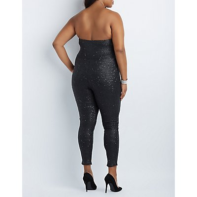 Plus Size Sequin Strapless Jumpsuit