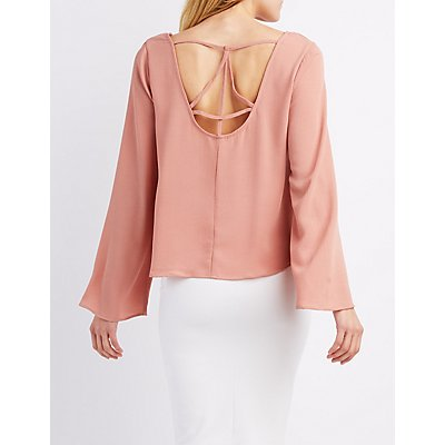 Caged-Back Bell Sleeve Top